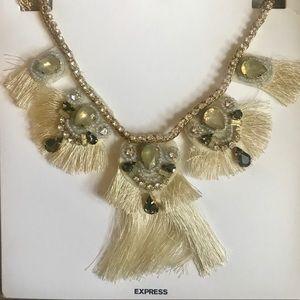 Express Embellished Tassel Statement Necklace